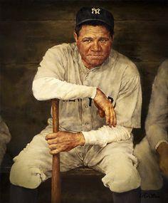 Baseball Art - Babe Ruth by Ron Stark New York Yankees Baseball, Baseball Art, Better Baseball, Ny Yankees, Sports Baseball, Baseball Players, Damn Yankees, Baseball Stuff, Angels Baseball