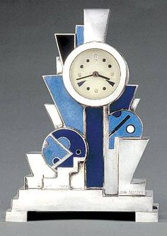 Art Deco Jean Goulden clock - 1928 - Silvered bronze with enamel - Christie's