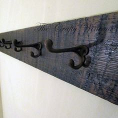 Reclaimed Barn Wood Coat Hanger with Six Wrought Iron Hooks - The Crafty Wineaux