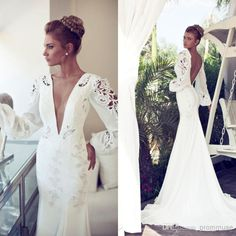 Wholesale Mermaid Wedding Dresses - Buy 2014 Nurit Hen Sexy Mermaid Deep V Neck Backless Long Sleeves Floor Length Court Lace Chiffon Bridal Gowns Vintage Wedding Dresses EM02141, $141.37 | DHgate