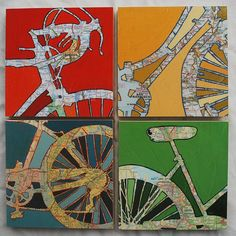 Bicycle art collection Four Mounted bike map prints, bike gift, bicycle gift, bike art, bicycle Bicycle Print, Bicycle Design, Bike Tattoos, Art Carte, Cycling Art, Cycling Quotes, Cycling Jerseys, Map Painting, Bike Photography
