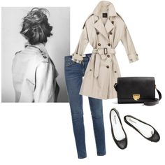 A fashion look from March 2013 featuring trench coat, skinny jeans and flat shoes. Browse and shop related looks.