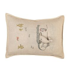 Linen pillow Coral & Tusk with ice floe -- your little can remove the whale to play