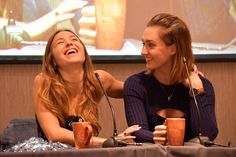 "katbarrelldaily: ""Katherine Barrell and Dominique Provost-Chalkley during WayHaught panel 2 @ Earpercon UK © Michellevg0703 """