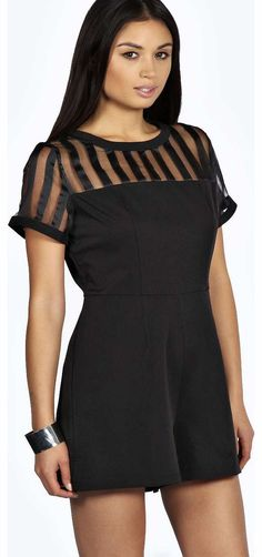 4ffbb87e2b44e boohoo Elisa Caged Neck Woven Playsuit - black azz19080 Play out your  organza obsession with this