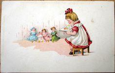 1920s Postcard Little Girl Reading TO HER Dolls Toys   eBay