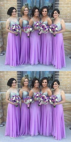 Prom Dresses Simple, A-Line Spaghetti Straps Floor-Length Purple Chiffon Bridesmaid Dress with Sequins, A long dress makes an elegant statement at any formal event whether it is prom, a formal dance, or wedding. Sequin Bridesmaid Dresses, Prom Party Dresses, Wedding Bridesmaids, Bright Purple Bridesmaid Dresses, Pageant Dresses, Party Gowns, Dress Prom, Lavender Bridesmaid Dresses, Occasion Dresses