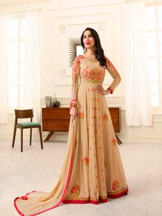 2894fb76384 Eid Festival Wear Resham Embroidered Georgette Peach Orange Anarkali Gown -  for women online please msg or whatsapp at 7534937587 for order details