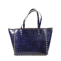 Bolso Shopping Cocodrilo y Tachuelas Azul