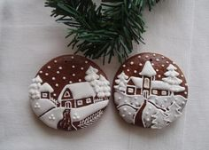would make nice gift cookies Christmas Sweets, Christmas Gingerbread, Christmas Fun, Gingerbread Houses, Gingerbread Decorations, Gingerbread Cookies, Fancy Cookies, Christmas Cookies, Holiday Baking