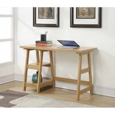 Writing Desk With 2 Shelves Trestle Office Books Laptop Working Storage Home #ConvenienceConcepts #Contemporary