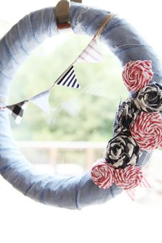 Love this Fourth of July wreath from www.bowerpowerblog.com.