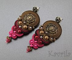 K Avril - Jewellery author. soutache. Sazava Brown Earrings. length 7.5cm