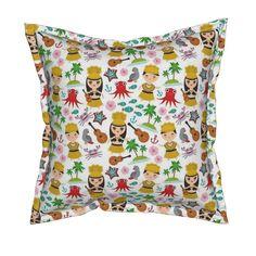 Serama Throw Pillow featuring Aloha Hawaii, kawaii Hawaiian boys and girls in…