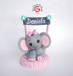 Elephant Cake Topper/ Baby Shower Cake Decoration/. This sweet and unique cake topper looks like fondant, but it is created out of non-edible, non-toxic, Cold Porcelain Paste. Keepsake Cake topper/. | eBay!