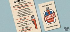 Retro / Vintage business card design for a plumbing company, Express Plumbing. Graphic Designer Chris Prescott. www.cprescott.com