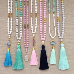 a long beaded tassel necklace                                                                                                                                                      More