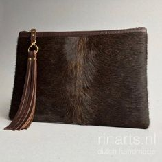 8320bcd52cac4 Cow hair clutch   cow hair and leather zipper pouch   oversized cow hair  and leather clutch in dark brown. OOAK clutch bag.