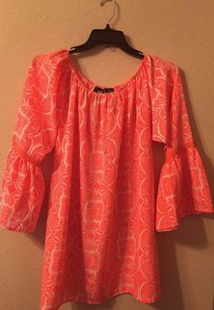d6e08943cd9 Boho Baby Doll Top L Casual Coral White Blouse Loose Fit Tunic Flowy Cute  for sale online | eBay