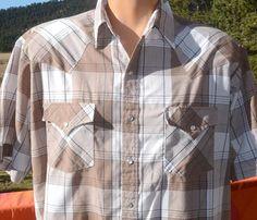 de028ec6 vintage 80s shirt plaid WESTERN brown short sleeve pearl snap rockstar  cowboy Large