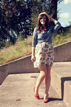Camisa jeans + floral