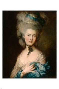 thomas GAINSBOROUGH fine art poster A WOMAN IN BLUE 24X36 PORTRAIT classic