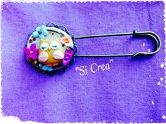 Owl brooch. Handmade fimo. Fimo creazioni. Fimo ideas. Spilla con gufo