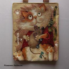 """Ручная работа Сумка женская """"Кошка с мышкой"""" (кошка, кот, сумка из гобелена, черная)"""