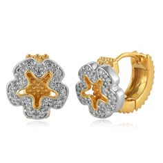 Gold Plated CZ studded Earrings in Two Tone Sterling Silver