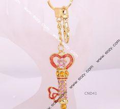 Gold Plated Charm Rhinestone Crystal Czech Inlay Metal Key Chain Love Stick  #eozy