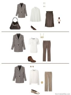 3 ways to wear a plaid jacket in a work capsule wardrobe in shades of brown