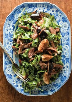 Goose Confit and Fig Salad-- This salad is adorned with goose leg meat braised in goose fat to make a luscious confit. This recipe comes from chef Brian Alberg of the Red Lion Inn in Stockbridge, Massachusetts