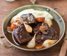 Use GF stock and bacon! An interpretation of the classic Julia Child recipe of tender braised beef in a robust and flavorful red wine stew.