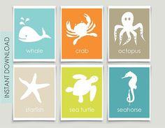Ocean+Theme+Nursery+Art+INSTANT+DOWNLOAD+Sea+Animals+Art+Kids