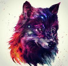 Galaxy wolf Wolf painting Wolf art Galaxy wolf