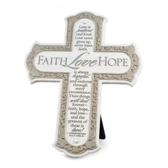 This cross displays beautifully next to a framed photo of husband and wife as a reminder of the commitment of the Sacrament of Marriage. Features the classic love passage from  1 Corinthians 13.