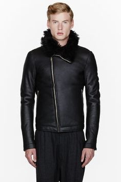 Rick Owens -  Black leather & shearling jacket