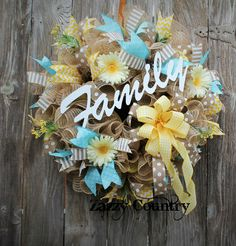 Zazzy Country on Facebook Spring Wreaths, Easter Wreaths, Summer Wreath, Holiday Wreaths, Wreath Crafts, Wreath Ideas, Diy Wreath, Burlap Wreath, Etsy Wreaths
