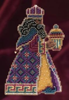 Mill Hill Balthasar - Beaded Cross Stitch Kit. Kit includes Mill Hill Beads, Mill Hill Perforated Paper, floss, needles, chart, and instructions. Finished size