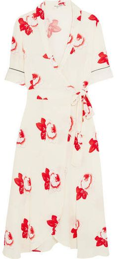 GANNI - Floral-print Crepe Wrap Dress - Off-white, GANNI's wrap dresses are so flattering and easy to wear that they are practically uniform for the most stylish attendees at Copenhagen Fashion Week. This one is cut from cream crepe that's printed with flowers and has ties at the side.  #GANNI #dress #SS18 affiliate