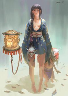[ Shamanic Embrace ] The art of Zeen Chin: choice of life Rosette Hiyashi geisha of blood Col Character Concept, Character Art, Concept Art, Fantasy Characters, Female Characters, Character Illustration, Illustration Art, Art Illustrations, Character Design Inspiration