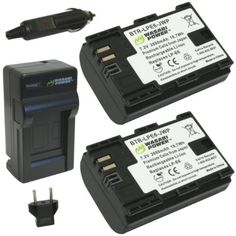 Wasabi Power Battery (2-Pack) and Charger for Canon LP-E6 and Canon EOS 5D Mark II, EOS 5D Mark III,