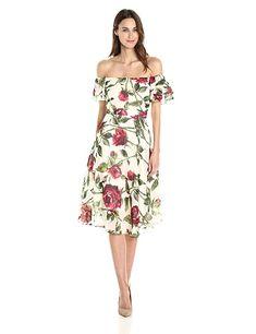 99cbc8f71fe5f Betsey Johnson Women's Chffon Tea Length Floral Dress at Amazon Women's  Clothing store: Elegant Dresses