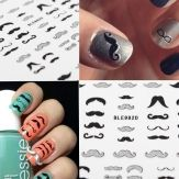 Wholesale Glitter Vintage London Mustache Nail Art Stickers Beard Nail Decals
