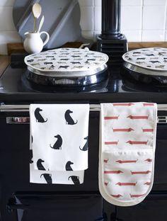 Fenella Smith animals collection 2014  - AGA topper, tea towel, oven mitt http://www.fenellasmith.com/store/countryside-pursuits/pheasant-linen-aga-toppers Pheasant / labrador / dachshund / pug