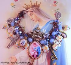 """Mother Queen of Heaven"" Saints Catholic Virgin Mary Religious Medals Bracelet www.letyscreations.com"