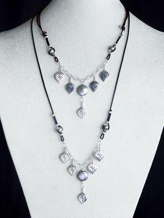 Harmony Scott Jewelry Design - Aspen Leaf Leather Necklace by Harmony Scott