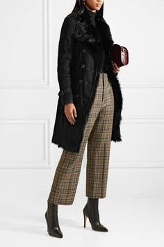 BURBERRY Toddingwall Black shearling trench coat