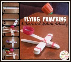 Force and motion catapults to fly Halloween pumpkins through the air!