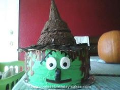 Homemade Witch Birthday Cake: My mom asked me to make a cake for her friend whose birthday is on October 31st. I thought making a Halloween themed cake would be the best. I got the